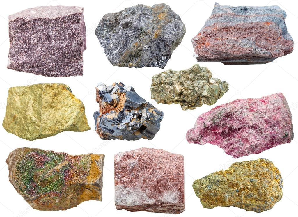 set of various glossy mineral rocks and stones