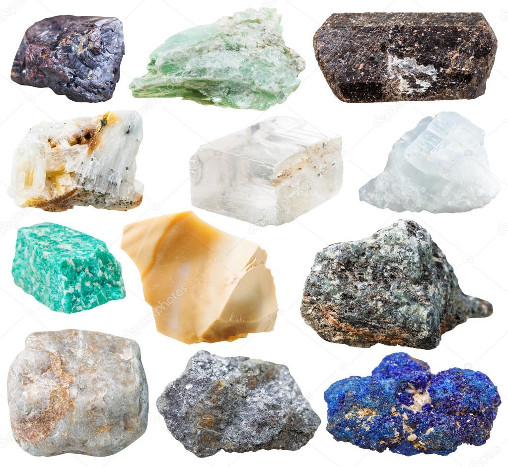 set of natural rocks and stones isolated