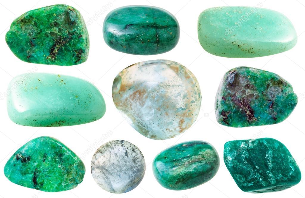 various green beryl and aquamarine gem stones stock photo