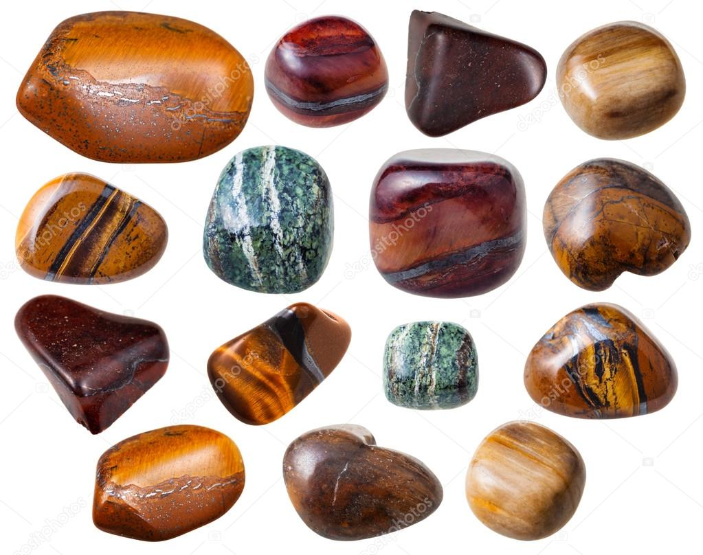 various Tiger's eye ( Tigereye) gemstones isolated