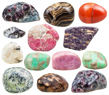 set of natural mineral tumbled gemstones isolated
