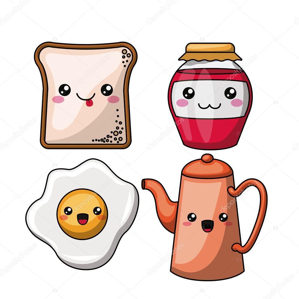 Personnage De Petit Déjeuner Isolé Dessin Icône Image Vectorielle