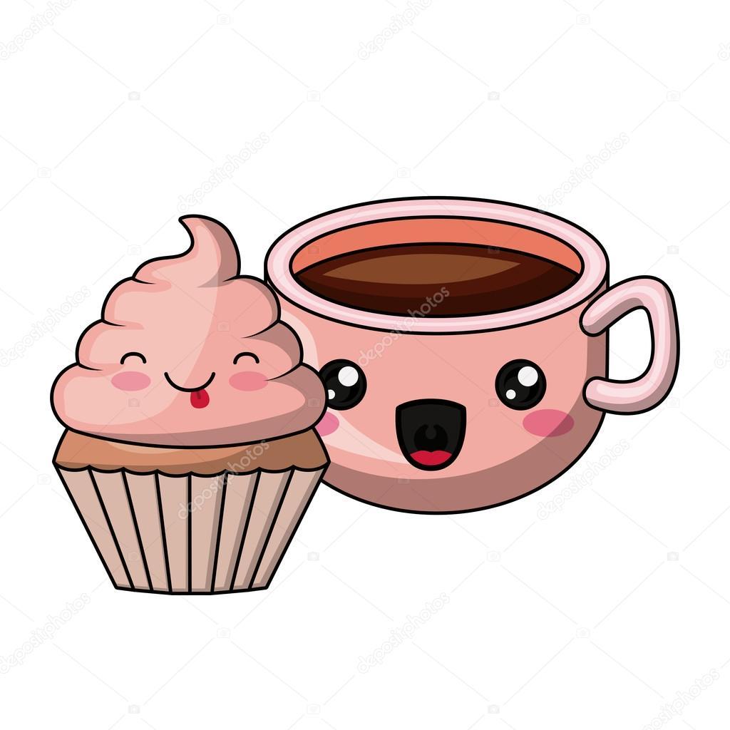 Kuchen Und Kaffee Charakter Isoliert Icon Design Stockvektor