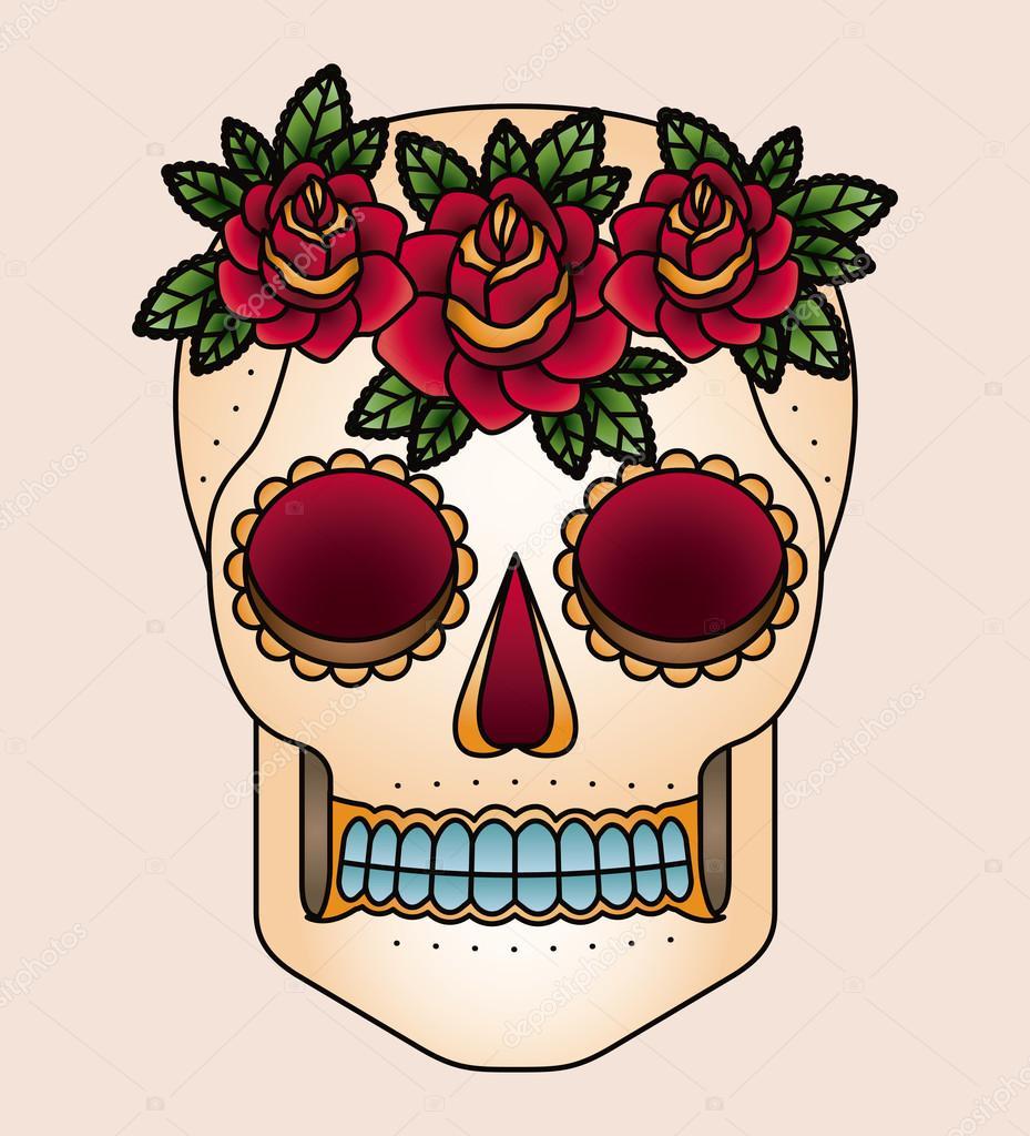Tatuaje De Calavera Y Flores Diseño Icono Aislado Archivo Imágenes