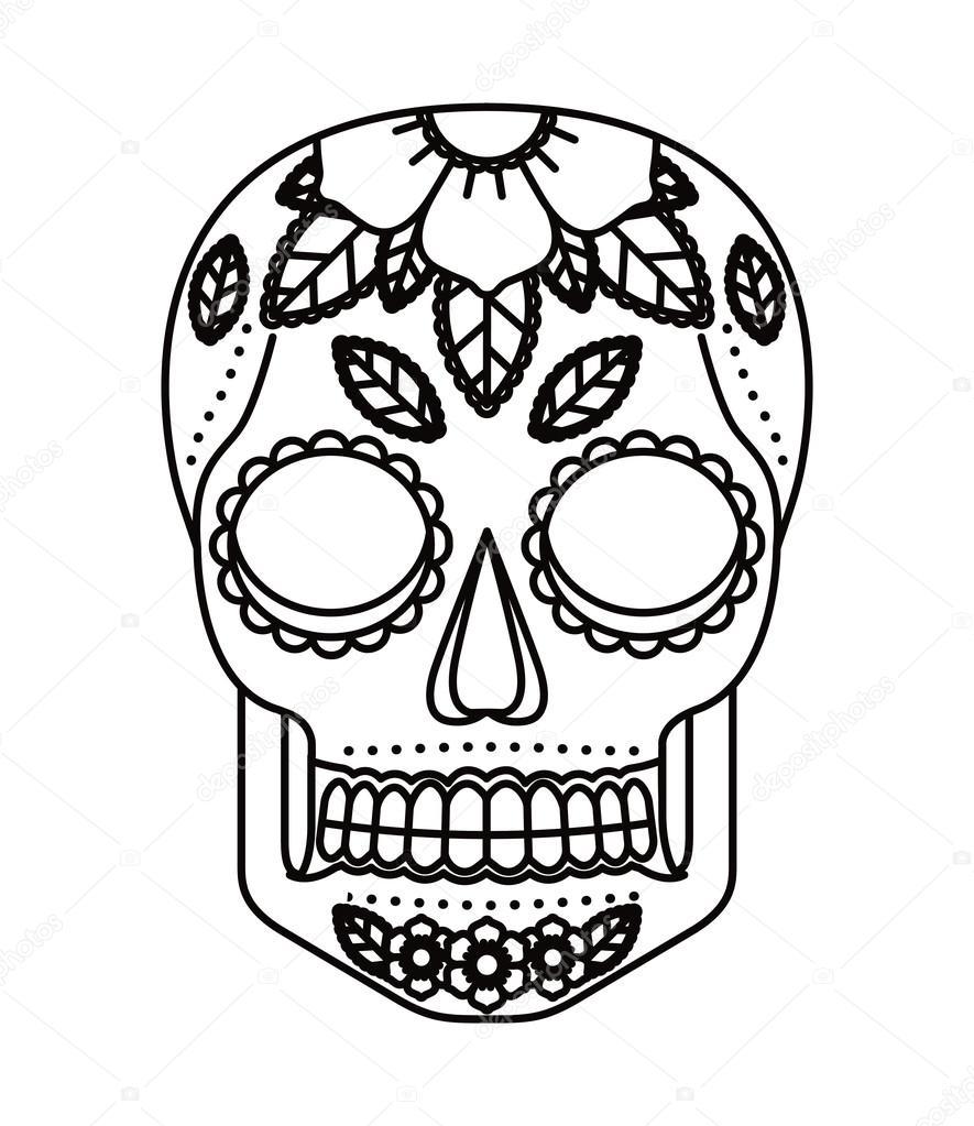 caveira e flores tatuagem desenho ícone isolado Vetor de