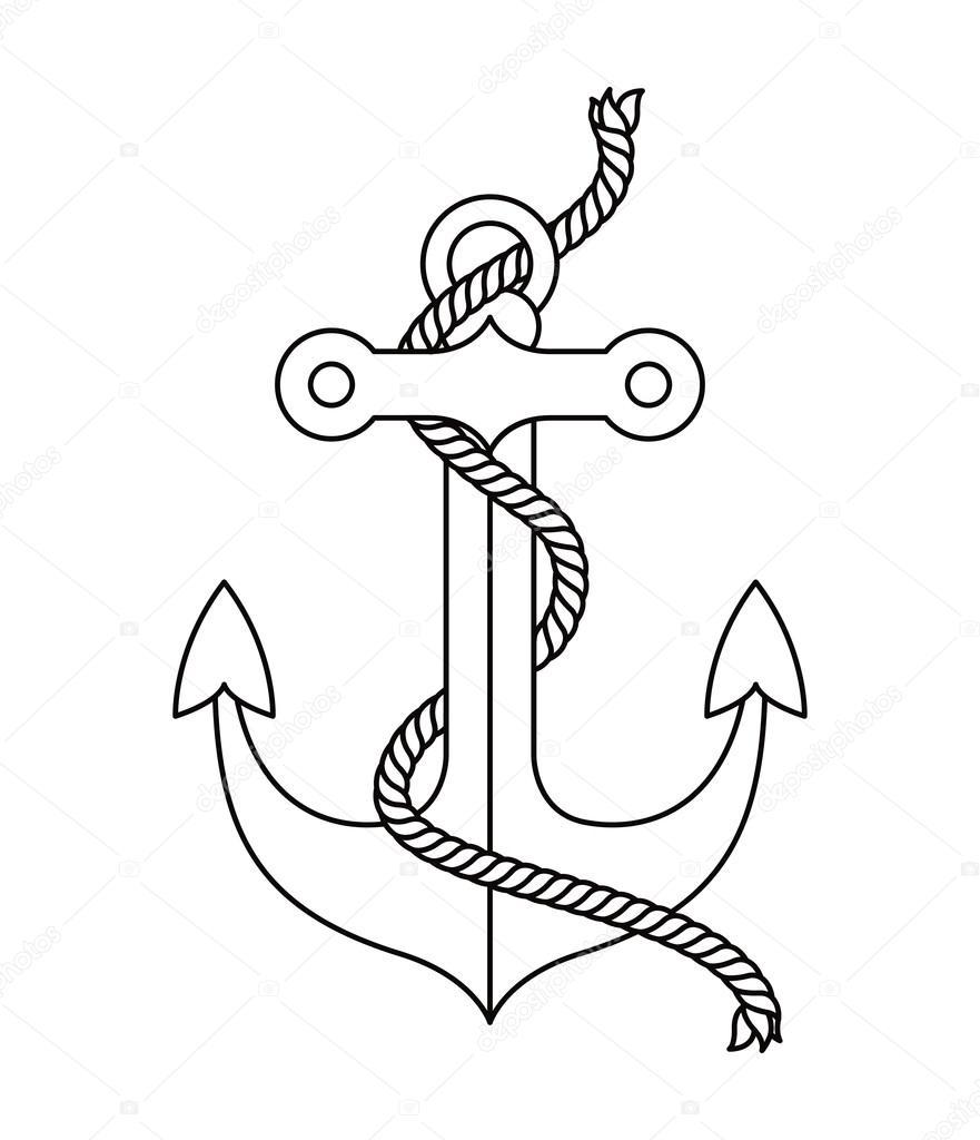 Vector Diseño De Anclas Diseño De Icono De Ancla Tatuaje Aislado