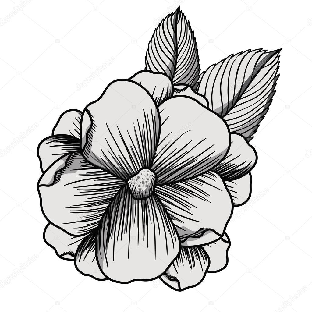 Mooie bloem tekening ge soleerd stockvector - Dessin manga amoureux ...
