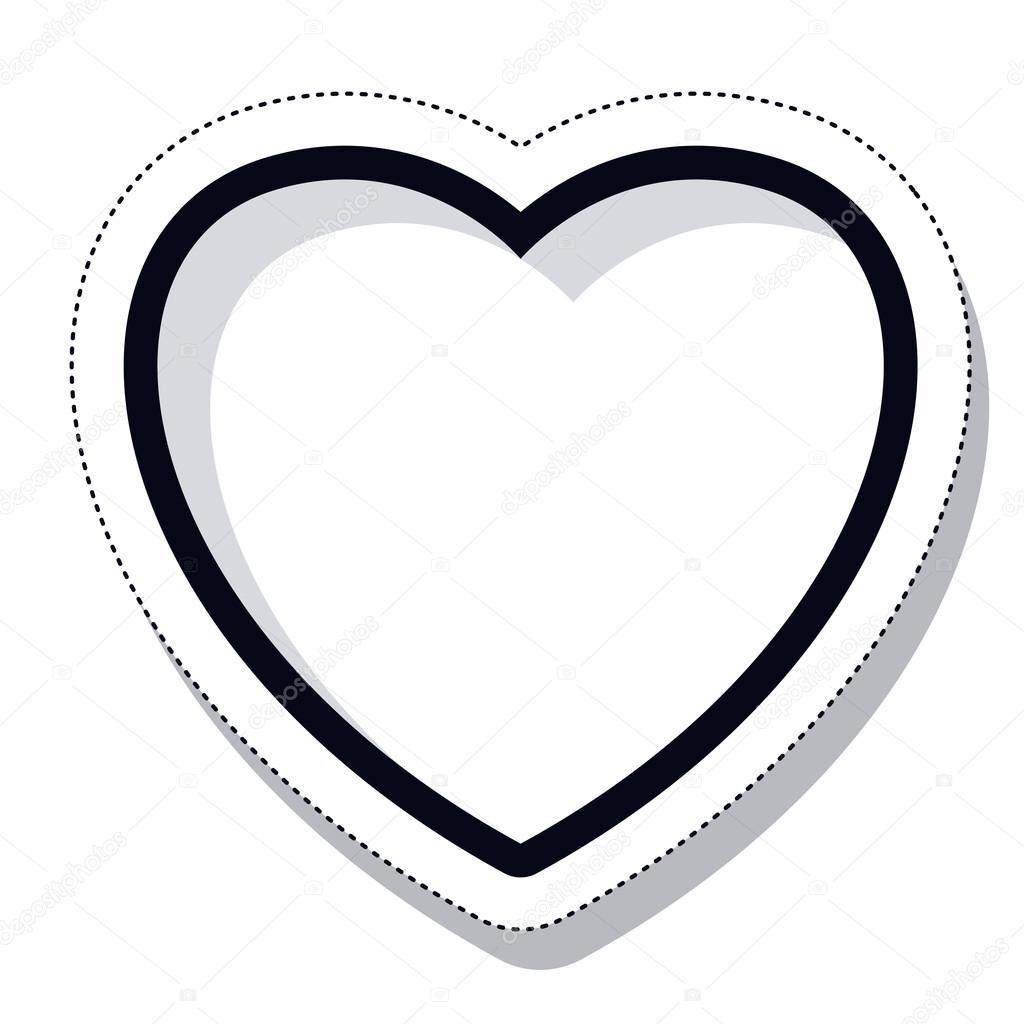 сердце картинка черно белая
