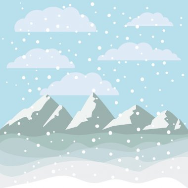 Landscape of mountains and snowing design