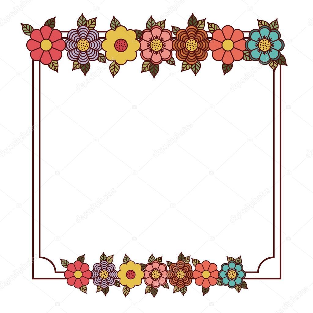 Diseño de marco de flores y hojas — Archivo Imágenes Vectoriales ...