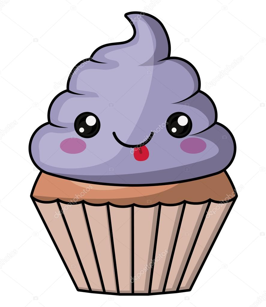 Muffin With Kawaii Face Design Stock Vector Grgroupstock 123582220
