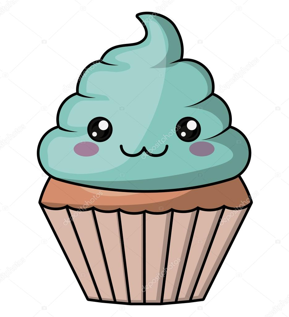 Muffin con diseño de cara kawaii — Archivo Imágenes ...