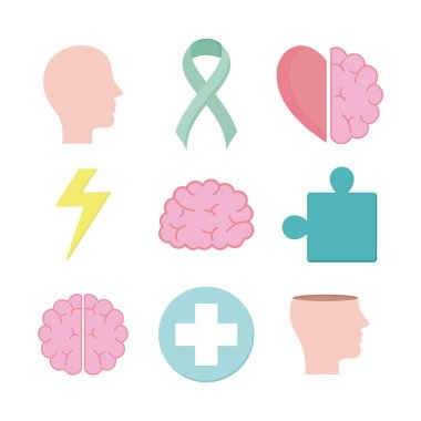 Mental health set icons of mind and human theme Vector illustration icon