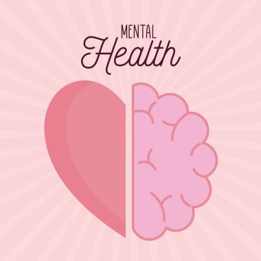 Mental health with brain and heart icon of mind and human theme Vector illustration icon