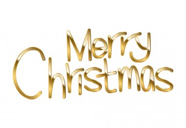 Merry christmas in gold lettering over white background vector illustration design icon