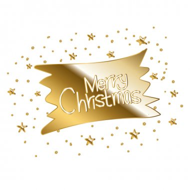 Merry christmas in gold lettering vector illustration design icon
