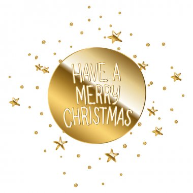 Have a merry christmas in gold lettering on a circle vector illustration design icon