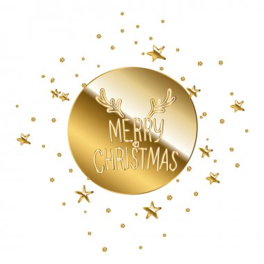 Merry christmas in gold lettering on golden circle vector illustration design icon