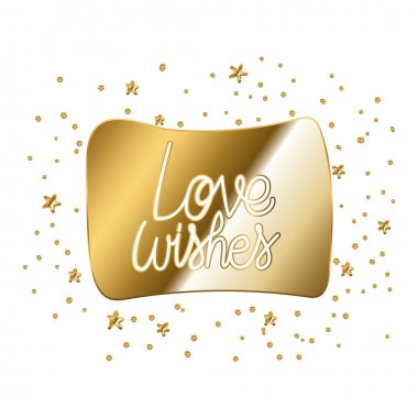 Love wishes in gold lettering in white background vector illustration design icon