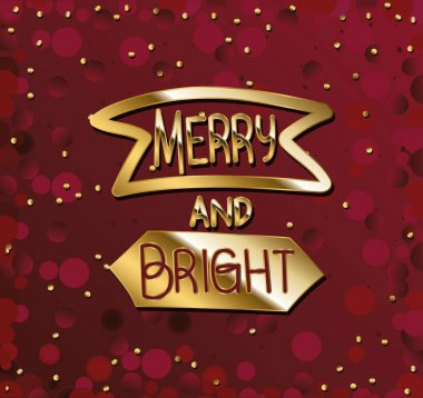 Merry and bright in gold lettering with crimson background vector illustration design icon