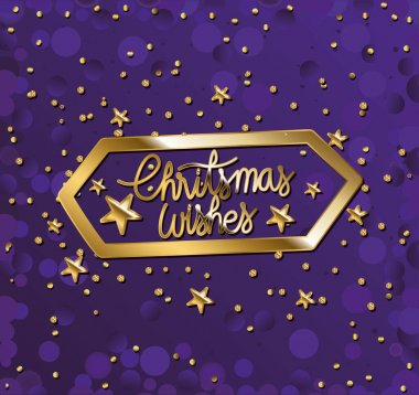 Christmas wishes in gold leterring with stars on purple background vector illustration design icon