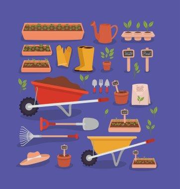 Garden tools icons over purple icon