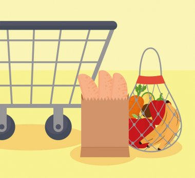 Shopping bags icons and cart icon