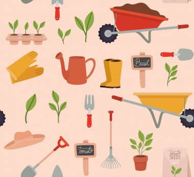 Seamlees of gardening tools icons icon
