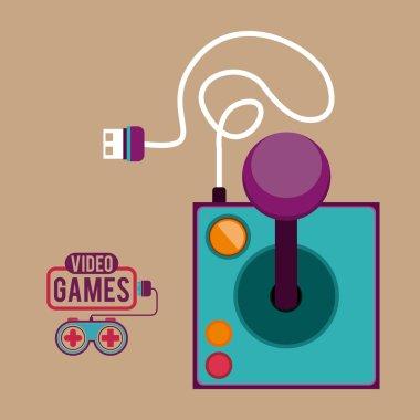 Video Games design over pastel background, vector illustration stock vector