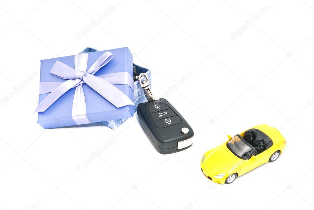 gift box, sport car and keys