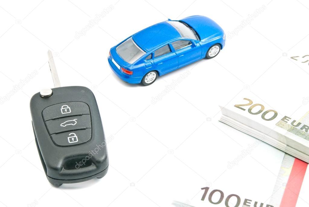 Blue Car Euro Notes And Black Car Keys Stock Photo C Biggimot