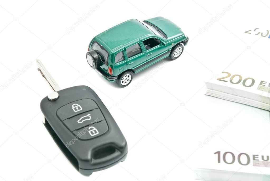 Black Car Keys Euro Notes And Green Car Stock Photo C Biggimot