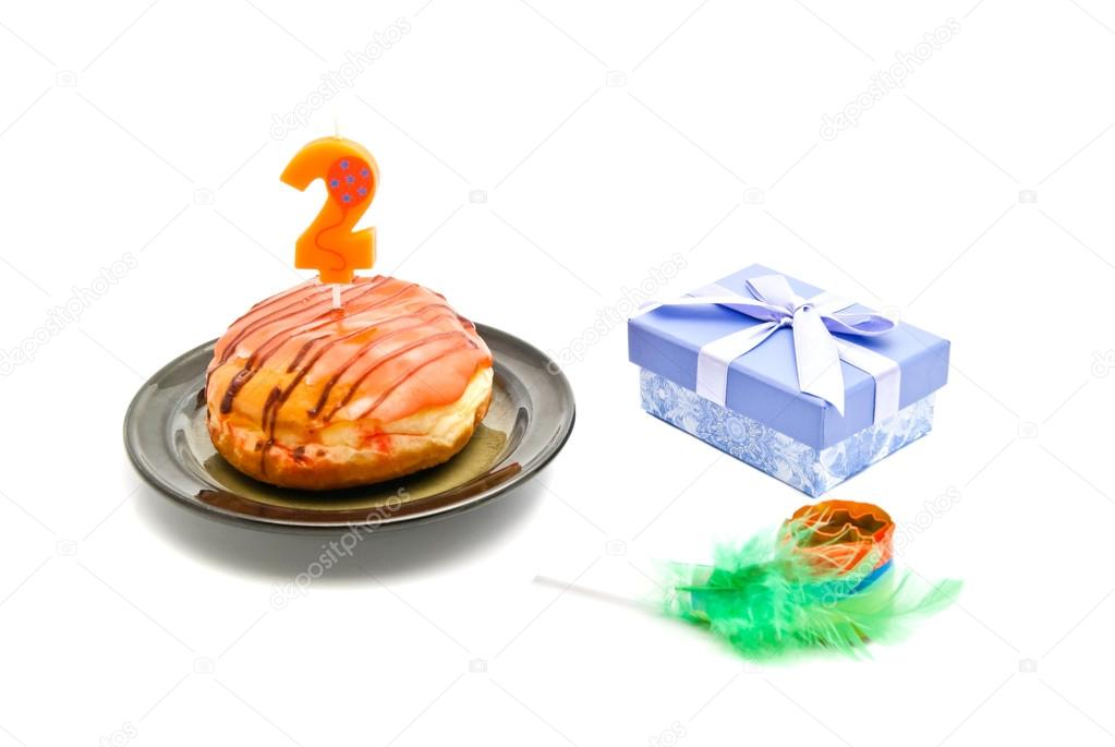 Krapfen Mit Zweijährigen Geburtstag Kerze Geschenk Und