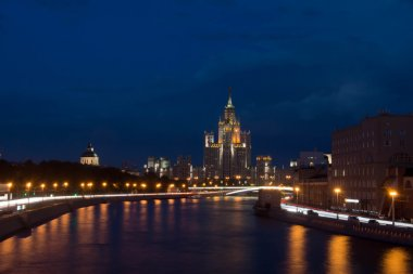 beautiful view of center of Moscow at night
