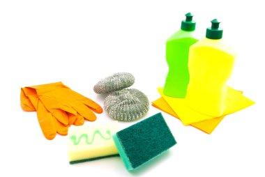 different sponges, gloves and bottles