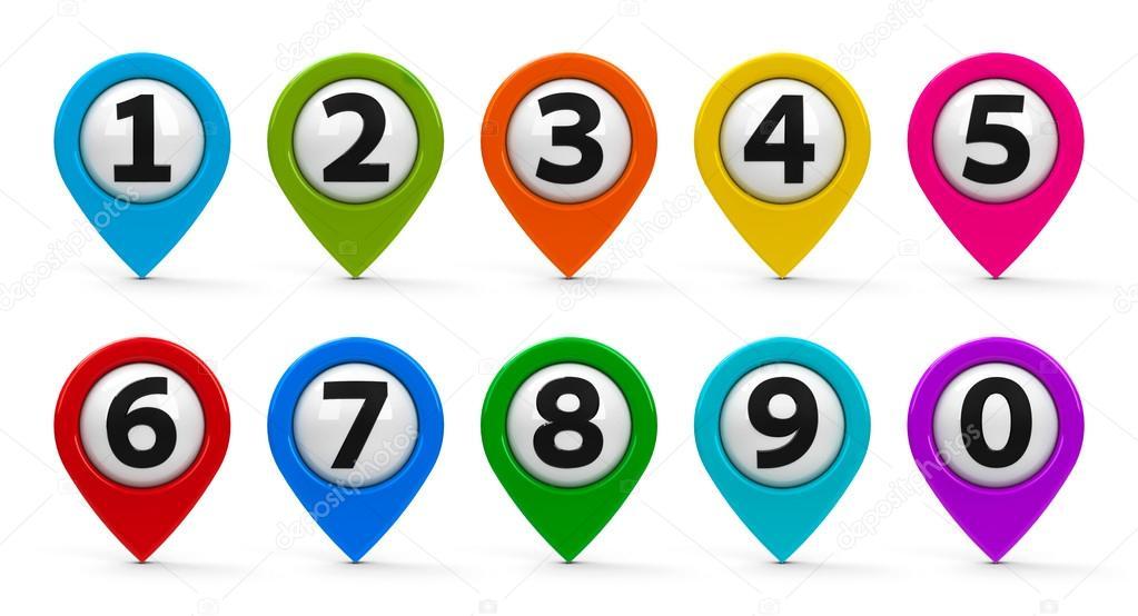 Mapa Plano Con Pin Icono De Puntero De La: Mapa De Punteros Con Conjunto De Números