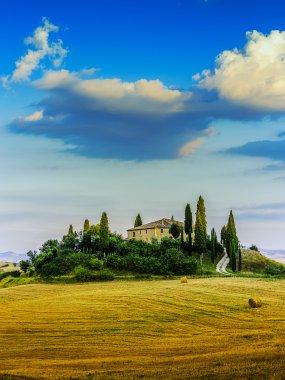 Tuscany landscape, San Quirico di Orcia, Italy stock vector
