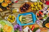 Greek cuisine dishes - feta, choriatiki, halloumi, tzatziki, sar