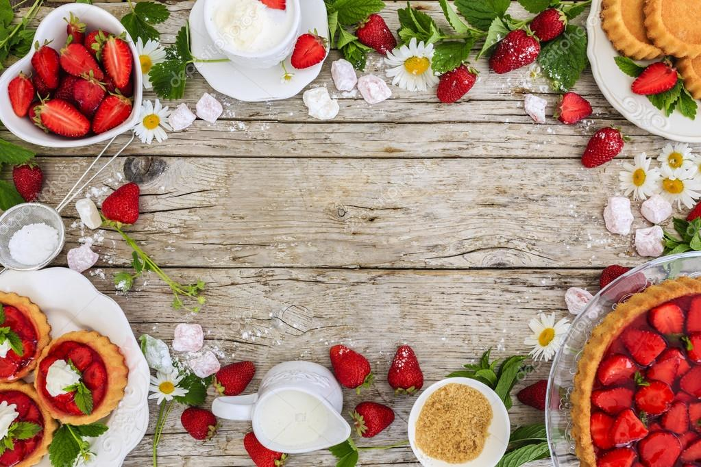 Strawberry - the delights of strawberries, tart and cake, frame ...