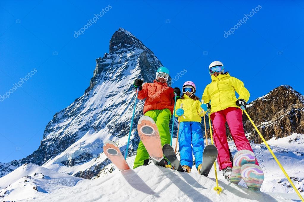 family enjoying winter vacations