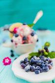 Fotografie Eis mit Heidelbeeren, Dessert
