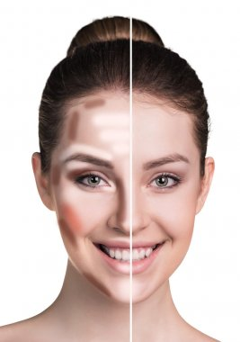 Woman face before and after makeup.