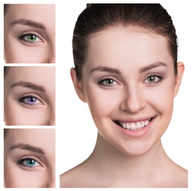 Female eyes in color contact lenses