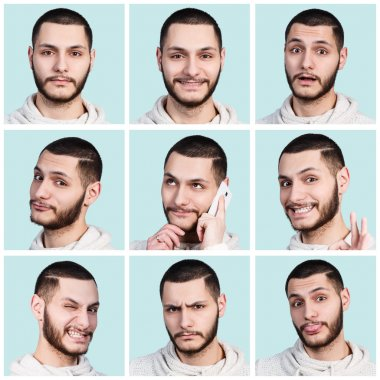 Collage of young man with different emotions