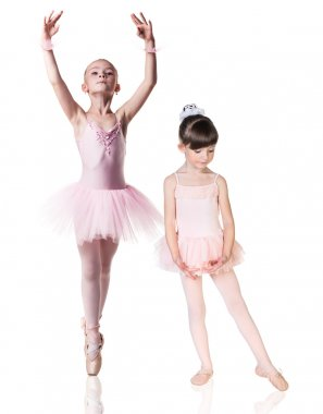 Two little ballerina girls practiced