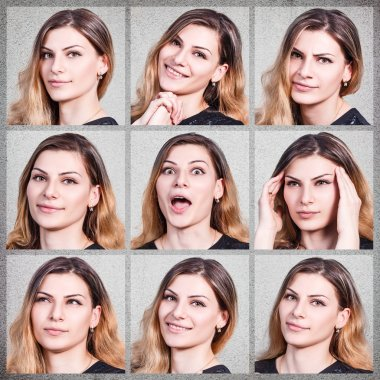 Collage of young woman with different emotions