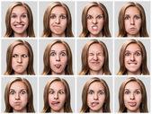 Mladá žena, vyjadřující různé emoce