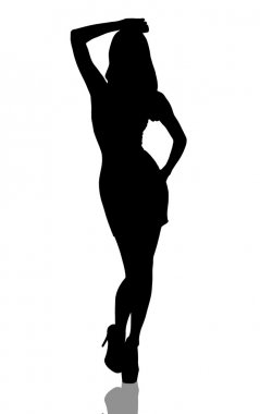 Stylish silhouette of beautiful woman