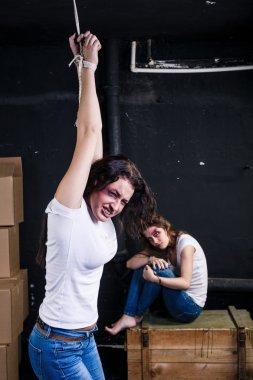 Two beaten women