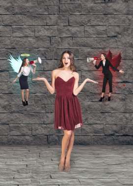 Pretty young woman in red dress thinks, an angel and a devil on grey brick background stock vector